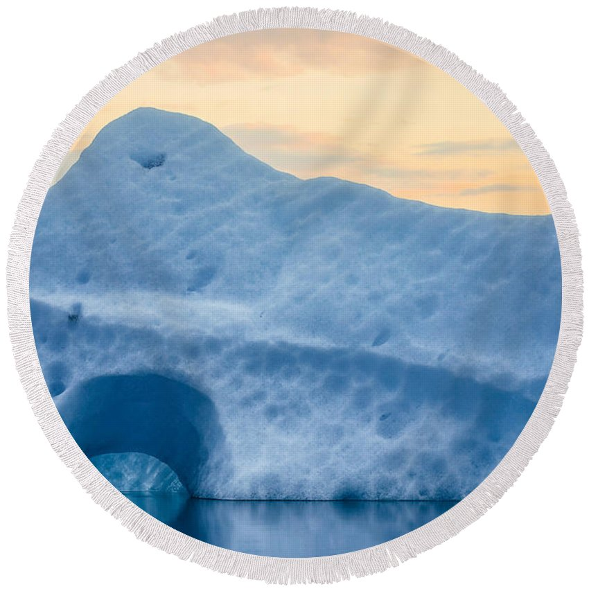 Photography Round Beach Towel featuring the photograph Iceberg On The Jokulsarlon Glacial by Panoramic Images