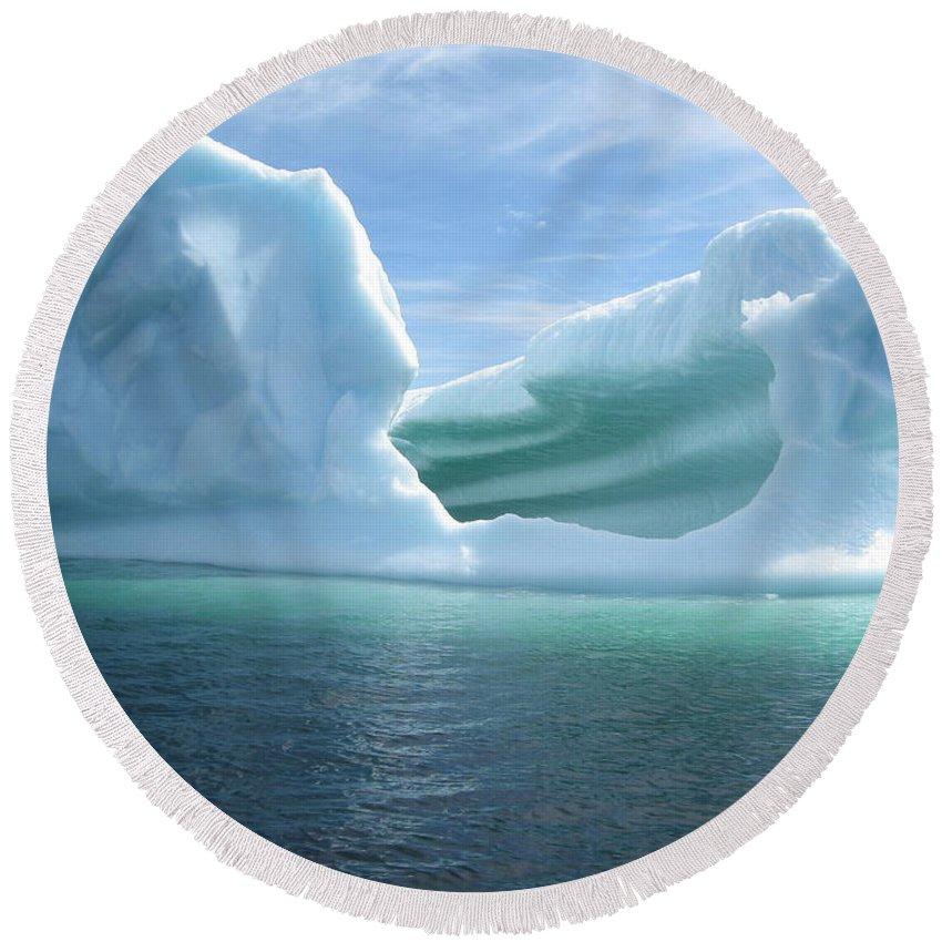 Photograph Iceberg Ocean Summer Newfoundland Round Beach Towel featuring the photograph Iceberg by Seon-Jeong Kim