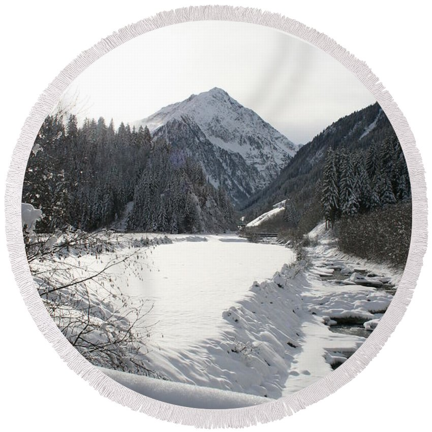 River Round Beach Towel featuring the photograph Iced River by Christiane Schulze Art And Photography