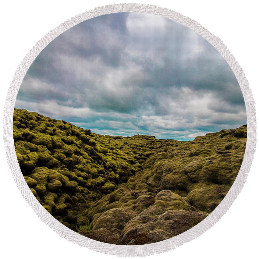 Landscape Round Beach Towel featuring the photograph Iceland Moss And Clouds by Venetia Featherstone-Witty