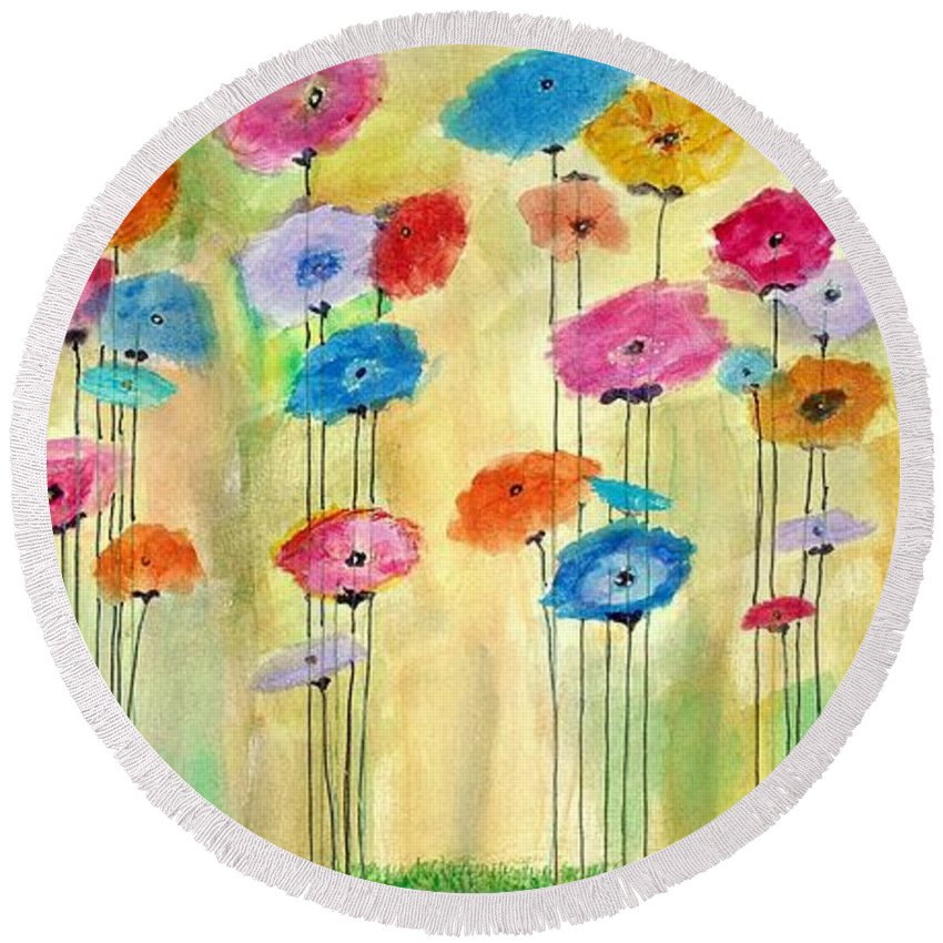 Round Beach Towel featuring the painting Icelandic Poppies by Martha Dolan