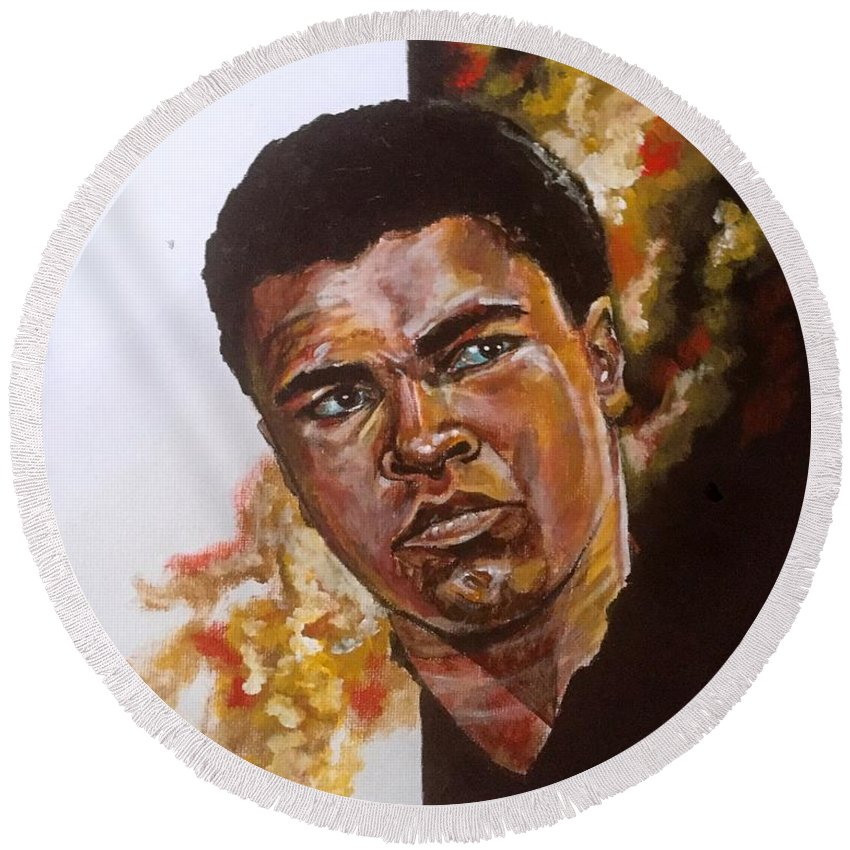 Portrait Round Beach Towel featuring the painting Icon by Joel Tesch