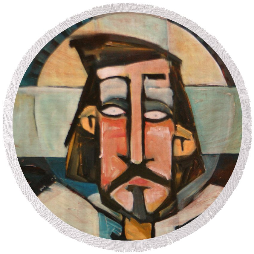 Christ Round Beach Towel featuring the painting Icon Number 1 by Tim Nyberg