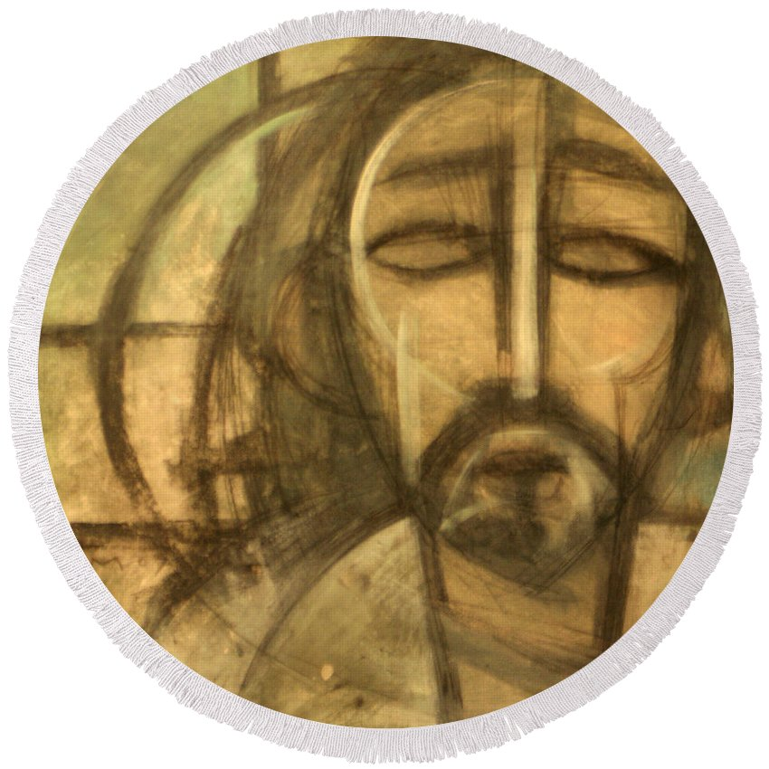 Christ Round Beach Towel featuring the painting Icon Number 6 by Tim Nyberg