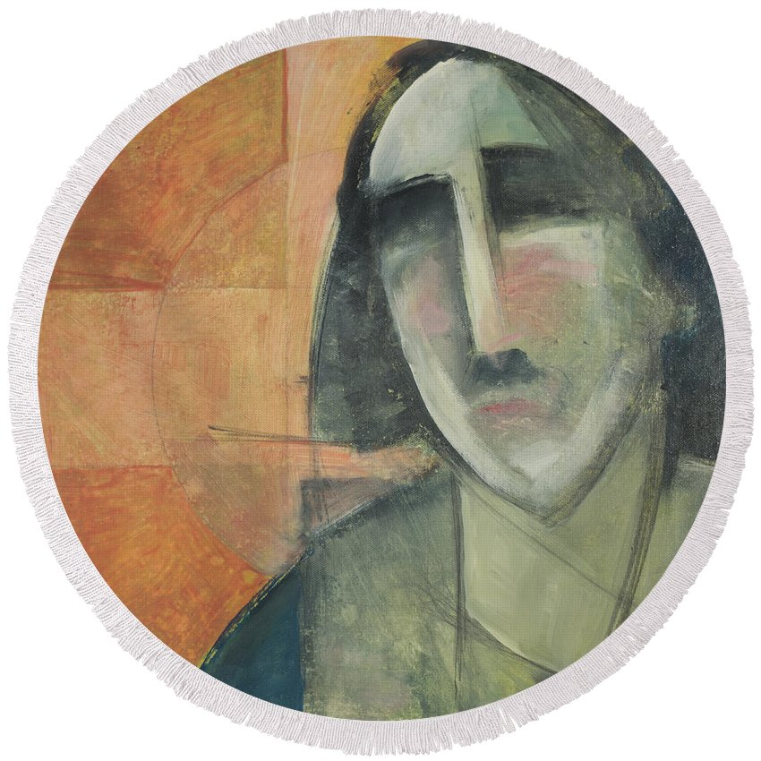 Christ Round Beach Towel featuring the painting Icon Number Five by Tim Nyberg