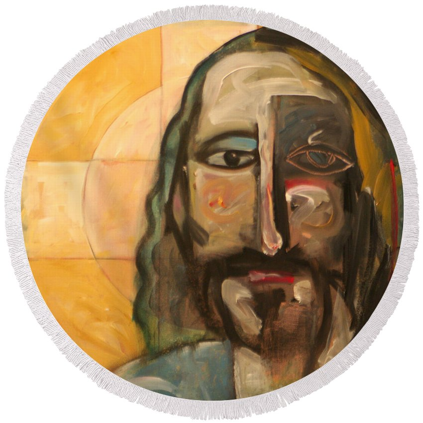 Christ Round Beach Towel featuring the painting Icon Number Four by Tim Nyberg