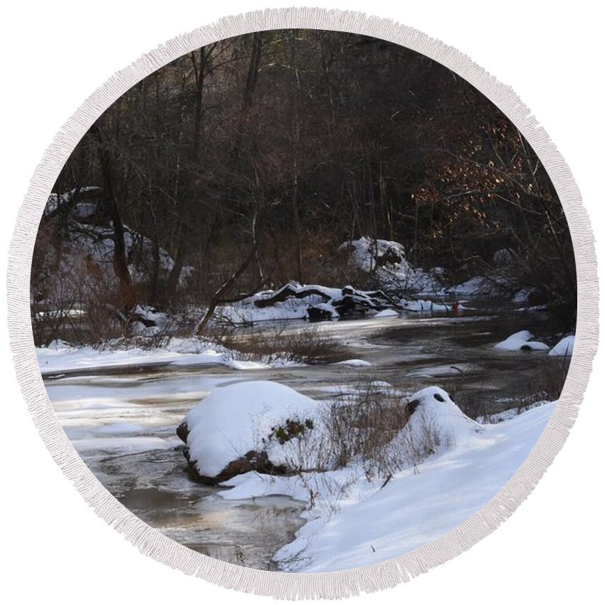 Creek Round Beach Towel featuring the photograph Icy Creek by Hughes Country Roads Photography