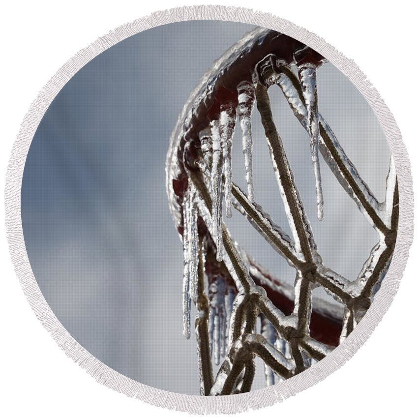 Basketball Round Beach Towel featuring the photograph Icy Hoops by Nadine Rippelmeyer