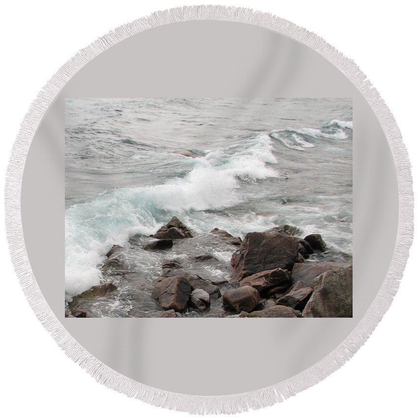 Wave Round Beach Towel featuring the photograph Icy Waves by Kelly Mezzapelle