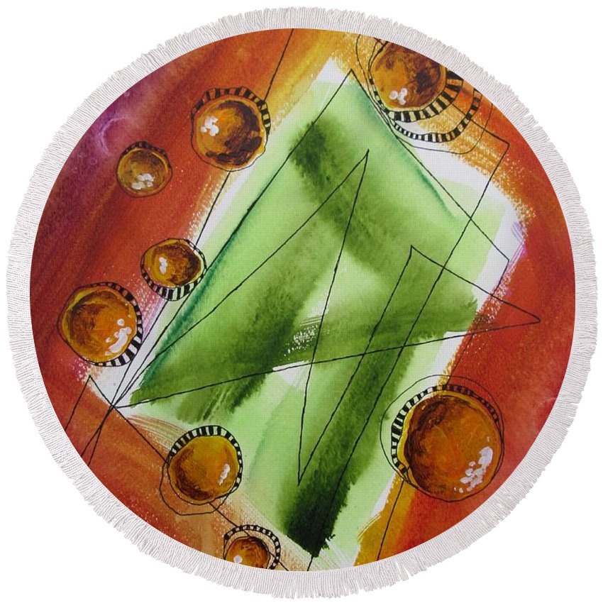 Abstract Round Beach Towel featuring the painting Ideas by Louise Adams