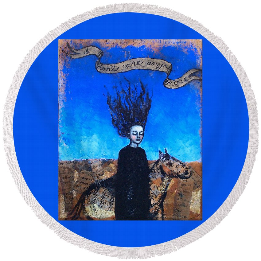 Round Beach Towel featuring the painting Idontcareanymore by Pauline Lim