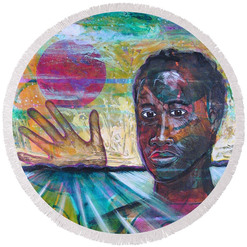 African-american Round Beach Towel featuring the painting If I... by Rollin Kocsis