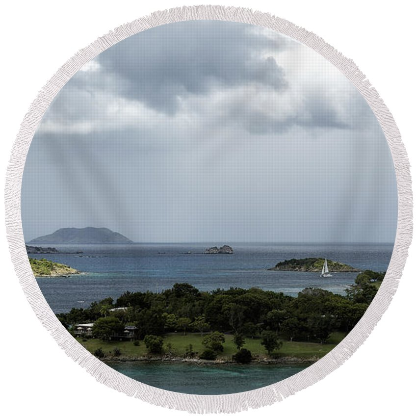 Saint John Island Round Beach Towel featuring the photograph If I Win The Lotto by Belinda Greb