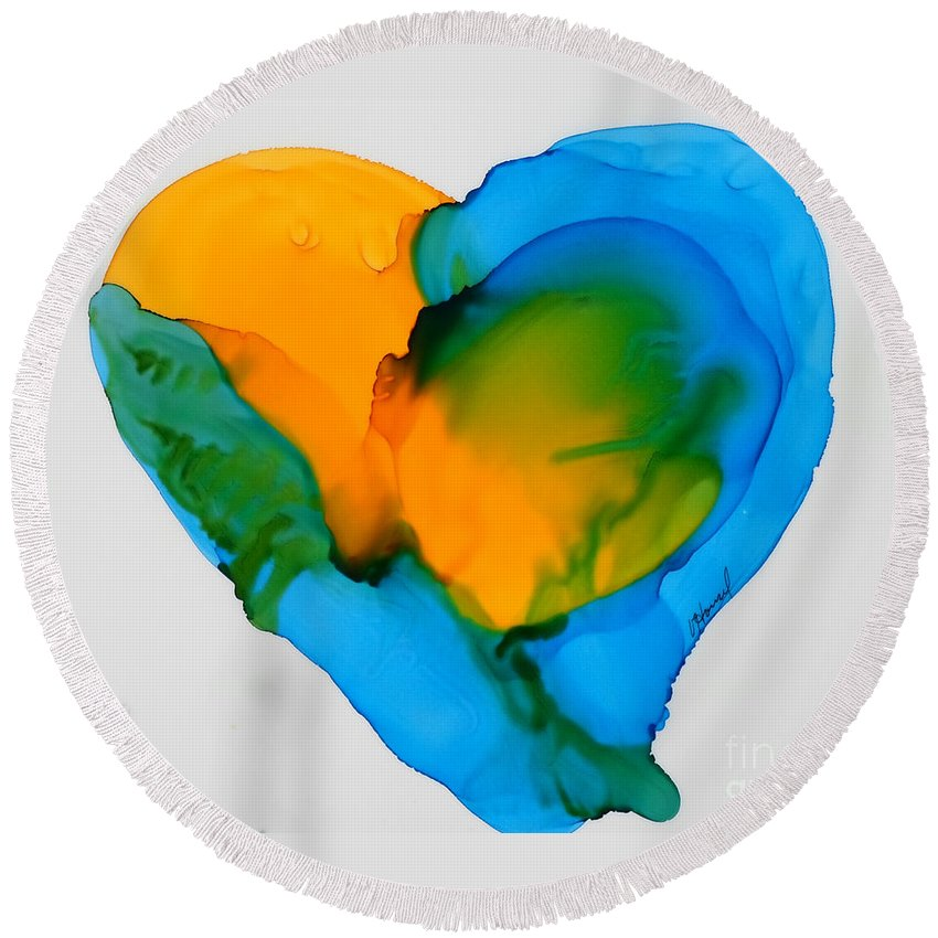 Heart Round Beach Towel featuring the painting If The World Would Have Heart by Vicki Housel