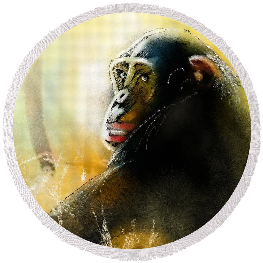 Chimp Round Beach Towel featuring the painting If You Ask Me Out... by Miki De Goodaboom