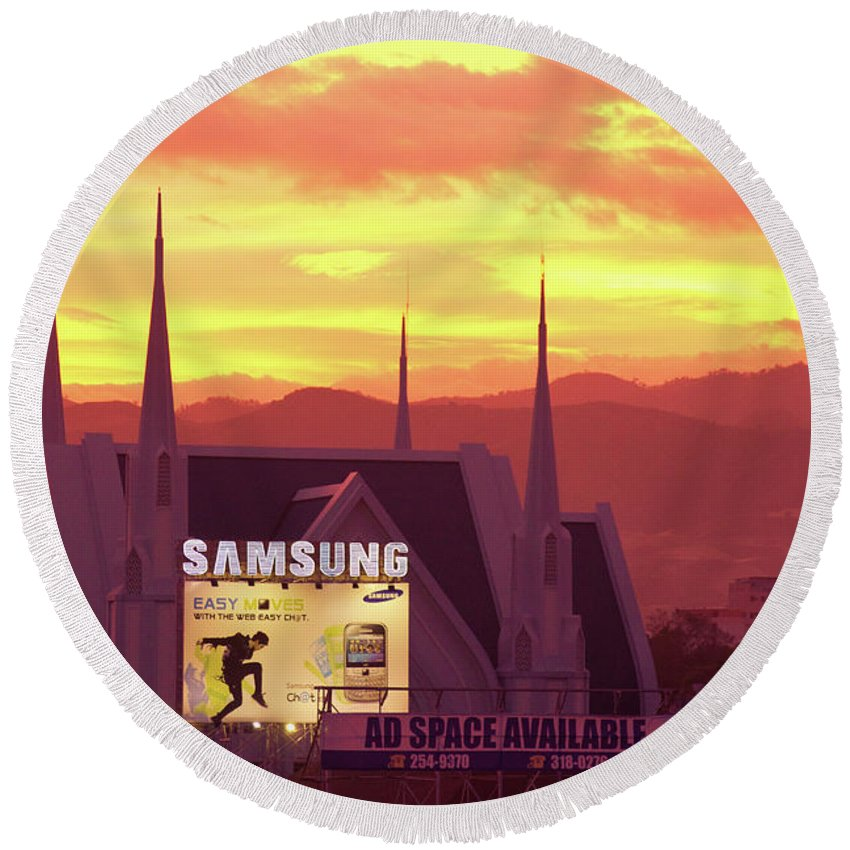 Insogna Round Beach Towel featuring the photograph Iglesia Ni Cristo Sunset Cebu City Philippines by James BO Insogna