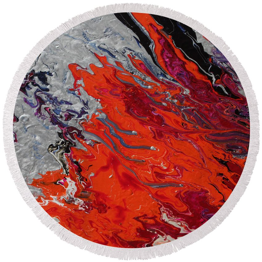Fusionart Round Beach Towel featuring the painting Ignition by Ralph White
