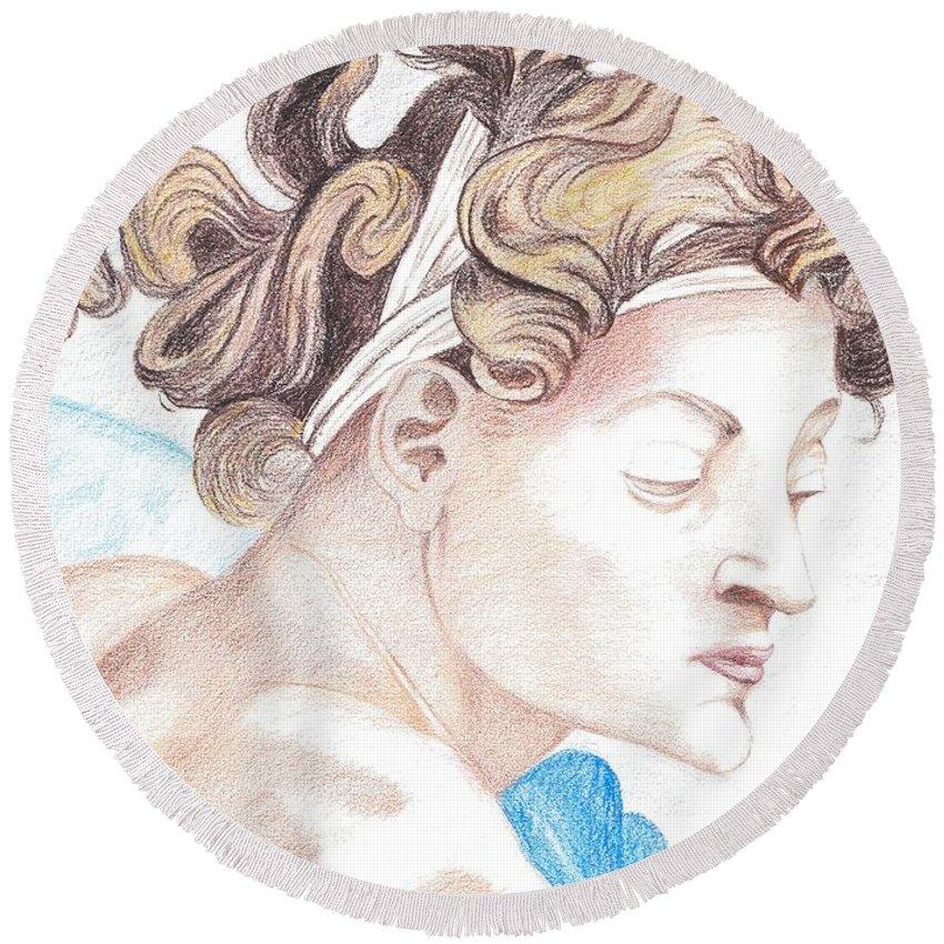 Ignudo Round Beach Towel featuring the drawing Ignudo Sistine Chappel Michelangelo by Bernardo Capicotto