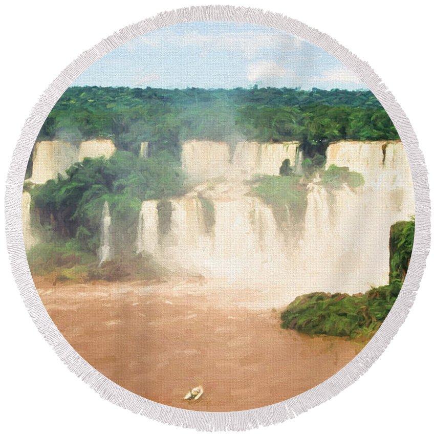 Brazil Round Beach Towel featuring the digital art Iguazu Falls 2 by Roy Pedersen