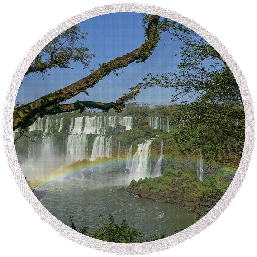Iguacu Falls Round Beach Towel featuring the photograph Iguazu Falls by Brian Kamprath