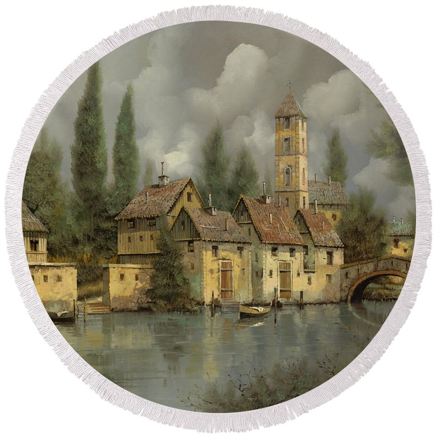 River Round Beach Towel featuring the painting Il Borgo Sul Fiume by Guido Borelli