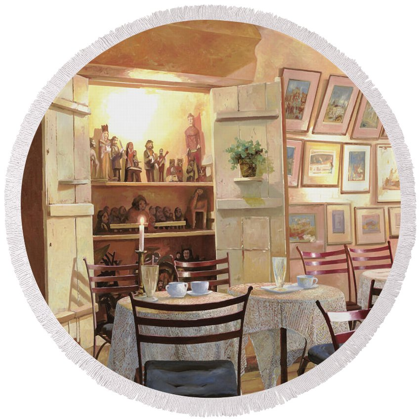 Cafe Round Beach Towel featuring the painting Il Caffe Dell'armadio by Guido Borelli