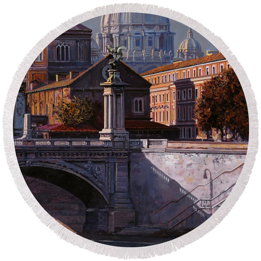 Rome Round Beach Towel featuring the painting Il Cupolone by Guido Borelli