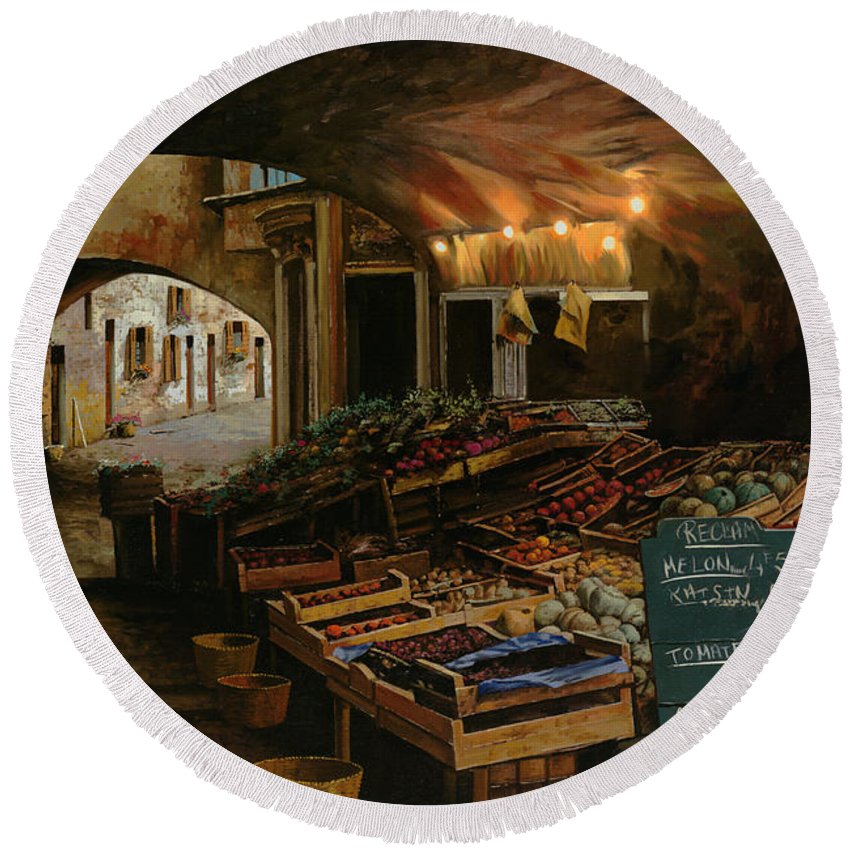 Market Round Beach Towel featuring the painting Il Mercato Francese by Guido Borelli