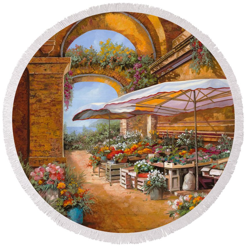 Market Round Beach Towel featuring the painting Il Mercato Sotto I Portici by Guido Borelli