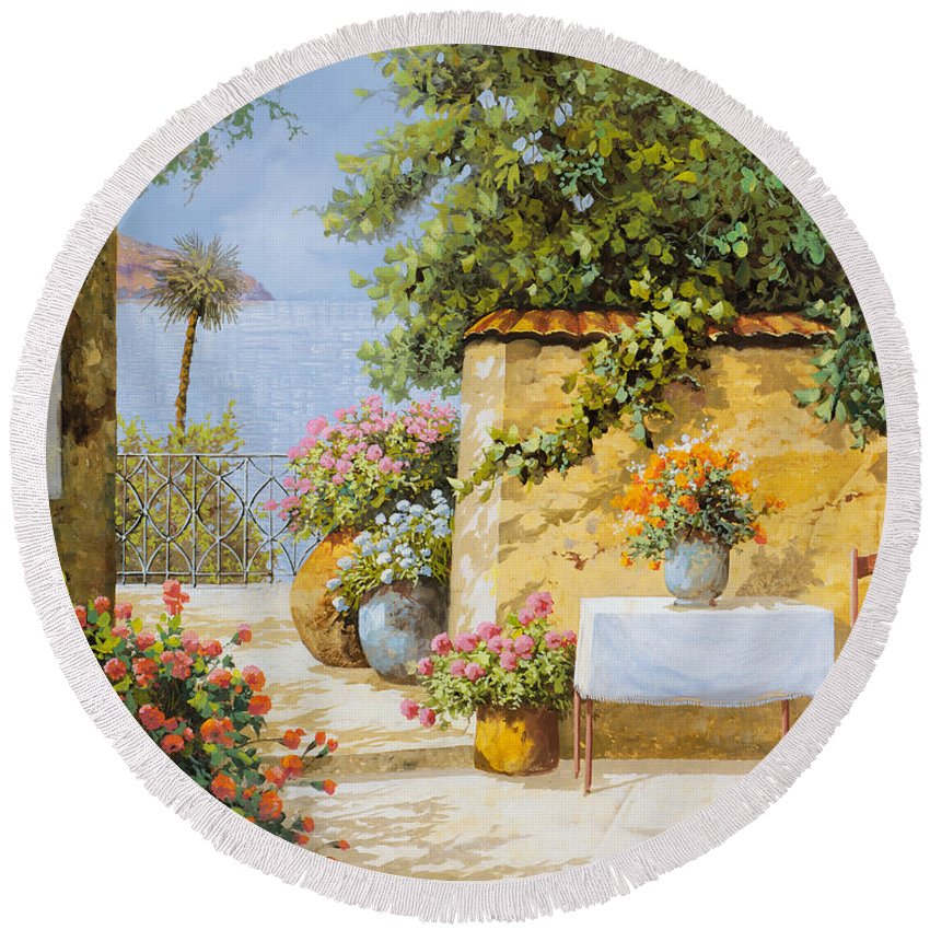 Seascape Round Beach Towel featuring the painting Il Muretto E Il Mare by Guido Borelli