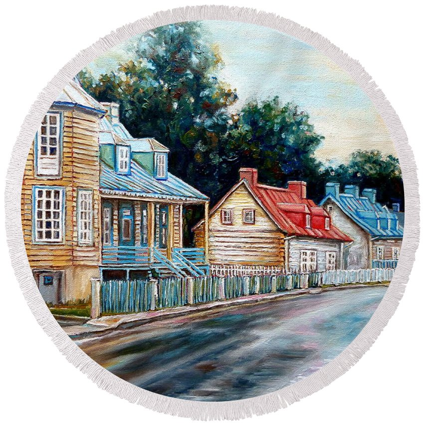 Ile D'orleans Round Beach Towel featuring the painting Ile D'orleans Quebec Street Scene by Carole Spandau