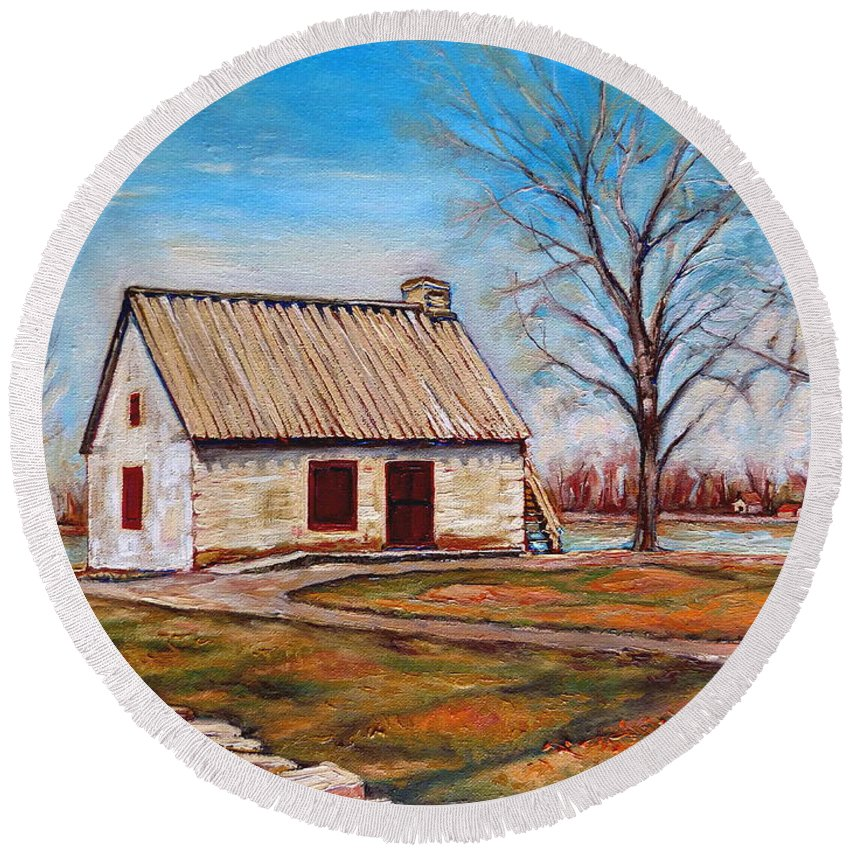 Ile Perrot Round Beach Towel featuring the painting Ile Perrot House by Carole Spandau