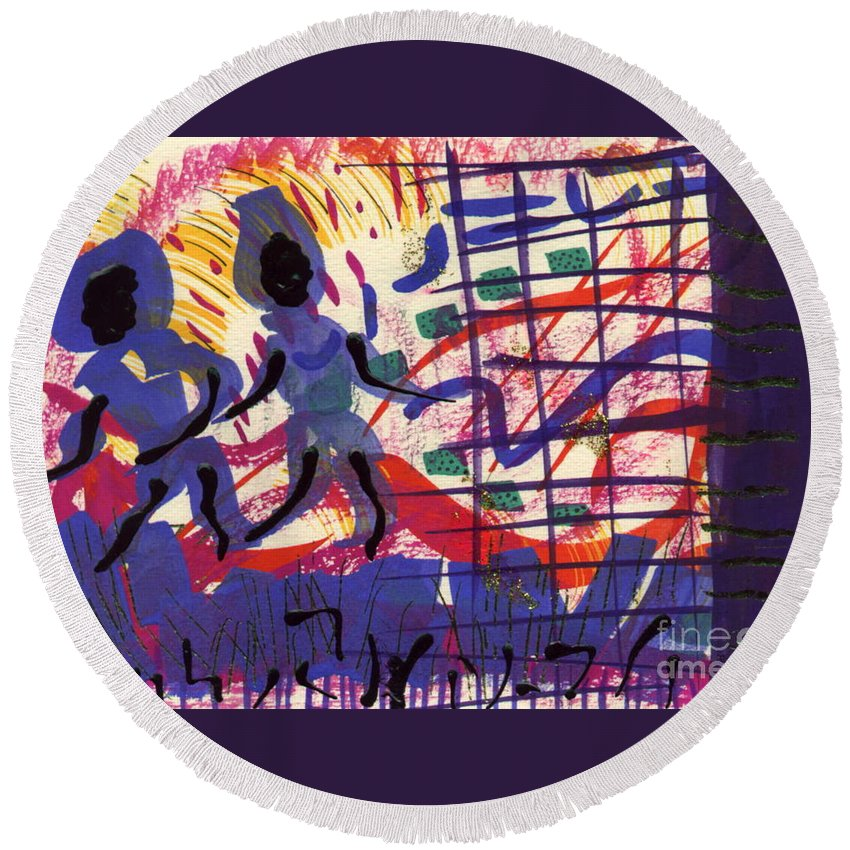 Abstract Round Beach Towel featuring the painting I'll Race Ya by Angela L Walker