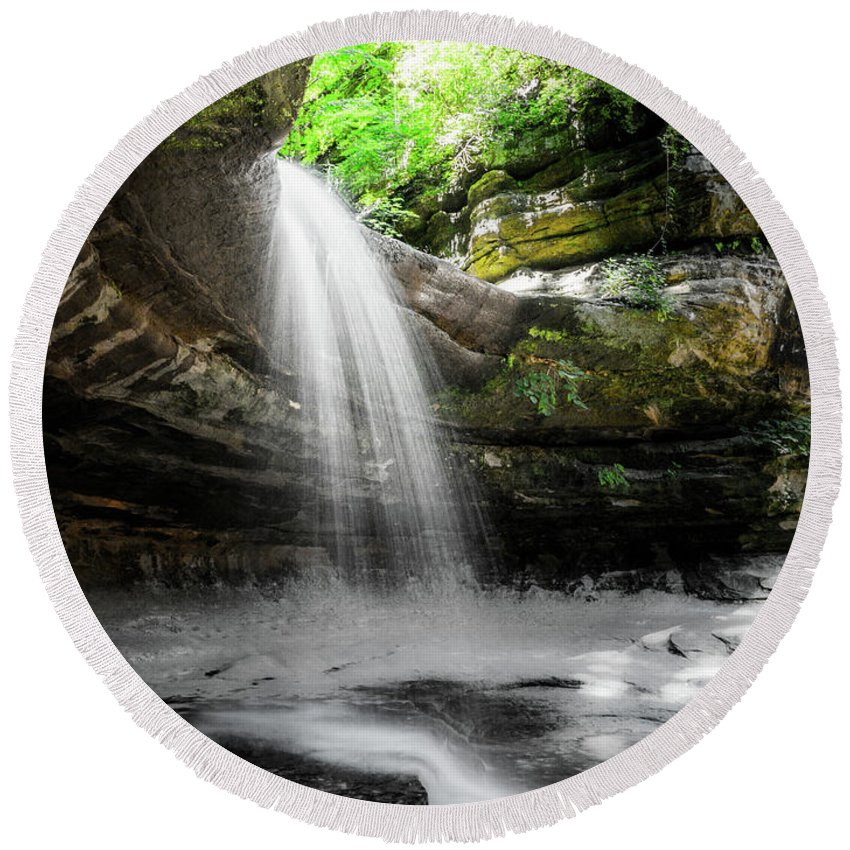 Across Round Beach Towel featuring the photograph Illinois Waterfall by Big Joe