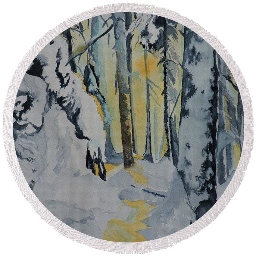 La Foret Enchantee Round Beach Towel featuring the painting Illuminated Wilderness by Lise PICHE
