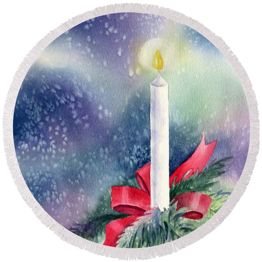 Candle Round Beach Towel featuring the painting Illumination by Deborah Ronglien