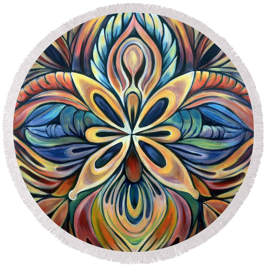 Mandala Round Beach Towel featuring the painting Illumination by Shadia Derbyshire