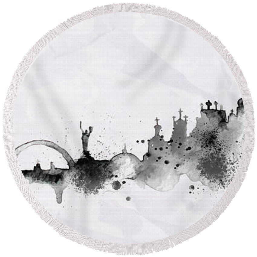 Poster Round Beach Towel featuring the digital art Illustration Of City Skyline - Kiev In Chinese Ink by Don Kuing