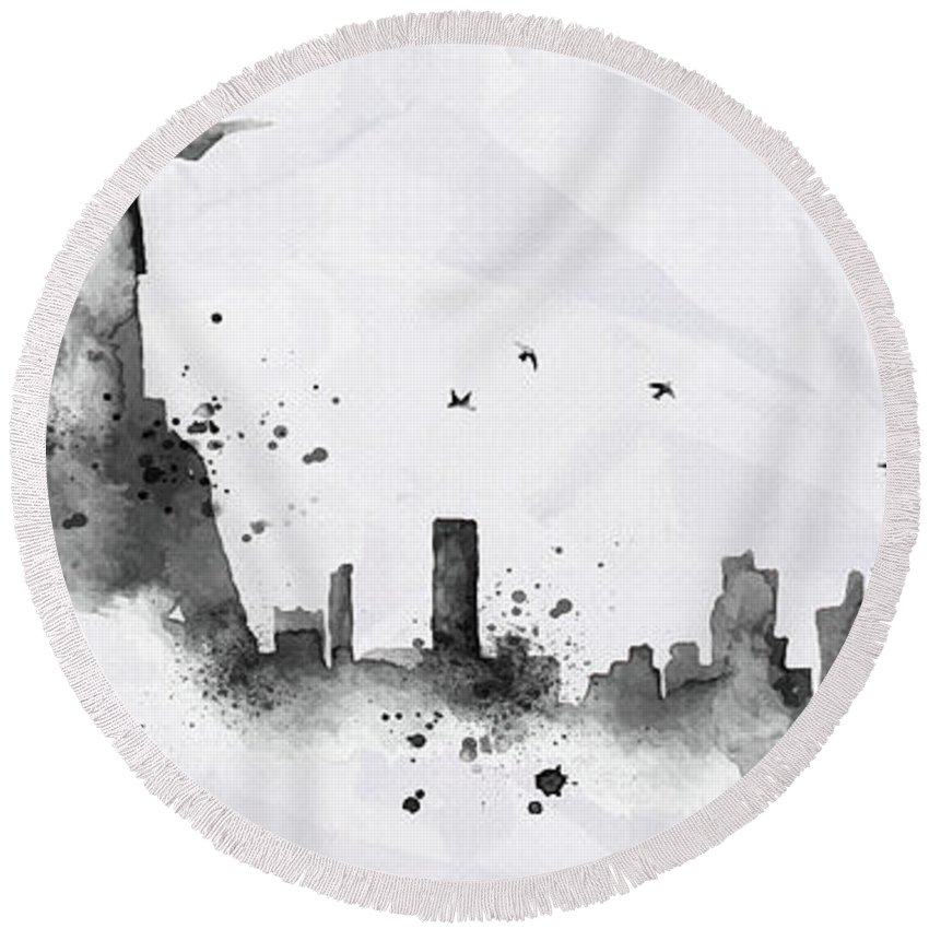 Poster Round Beach Towel featuring the digital art Illustration Of City Skyline - Rio De Janeiro In Chinese Ink by Don Kuing