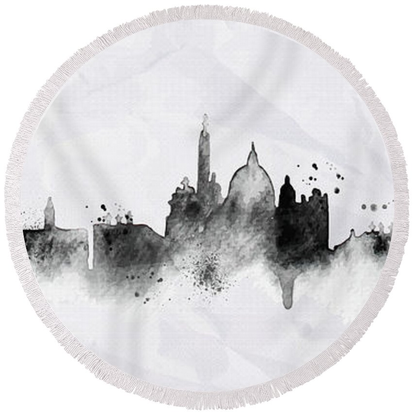 Poster Round Beach Towel featuring the digital art Illustration Of City Skyline - Rome In Chinese Ink by Don Kuing