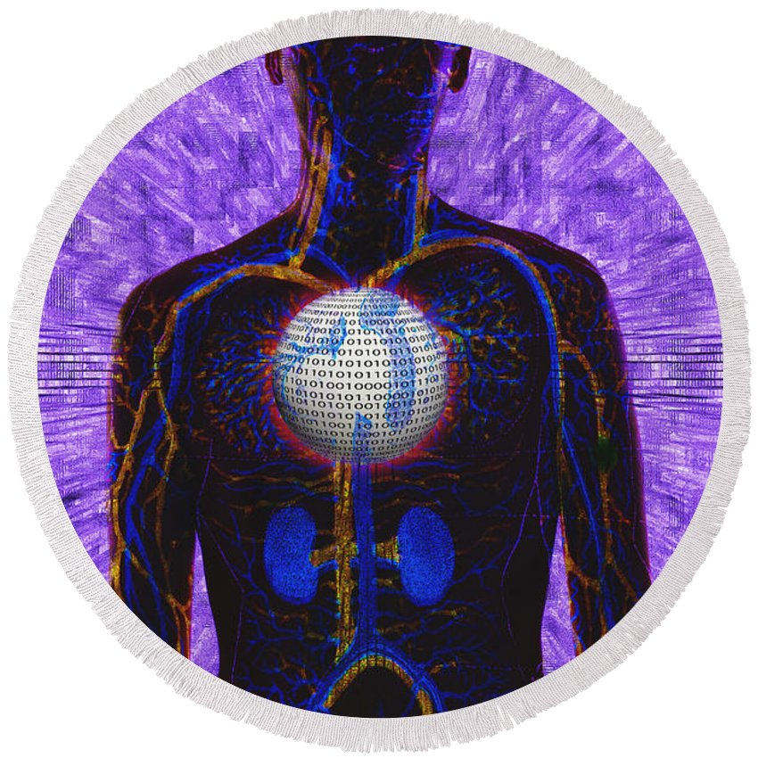 A.i. Round Beach Towel featuring the photograph Illustration Of Computer Enhanced Human by George Mattei