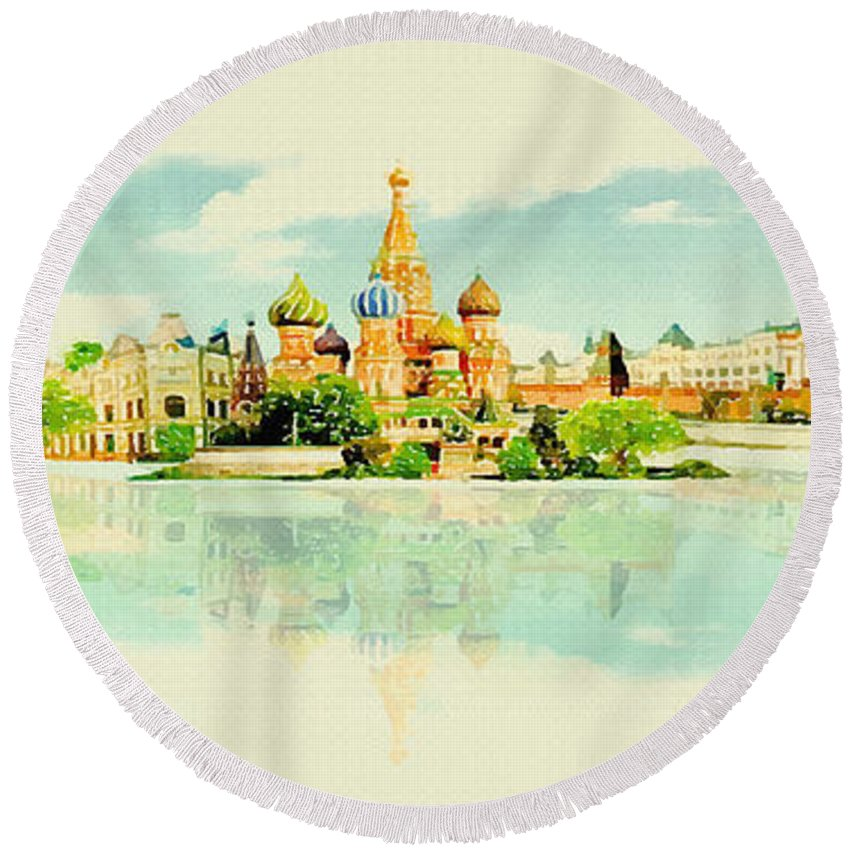 Poster Round Beach Towel featuring the digital art Illustration Of Moscow In Watercolour by Don Kuing