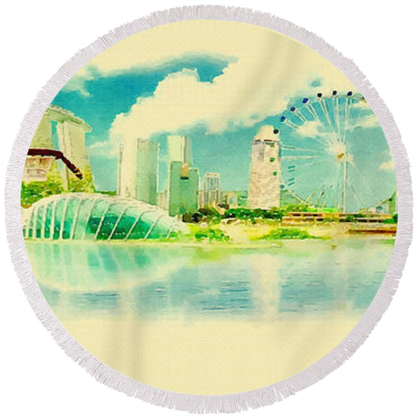 Poster Round Beach Towel featuring the digital art Illustration Of Singapore In Watercolour by Don Kuing