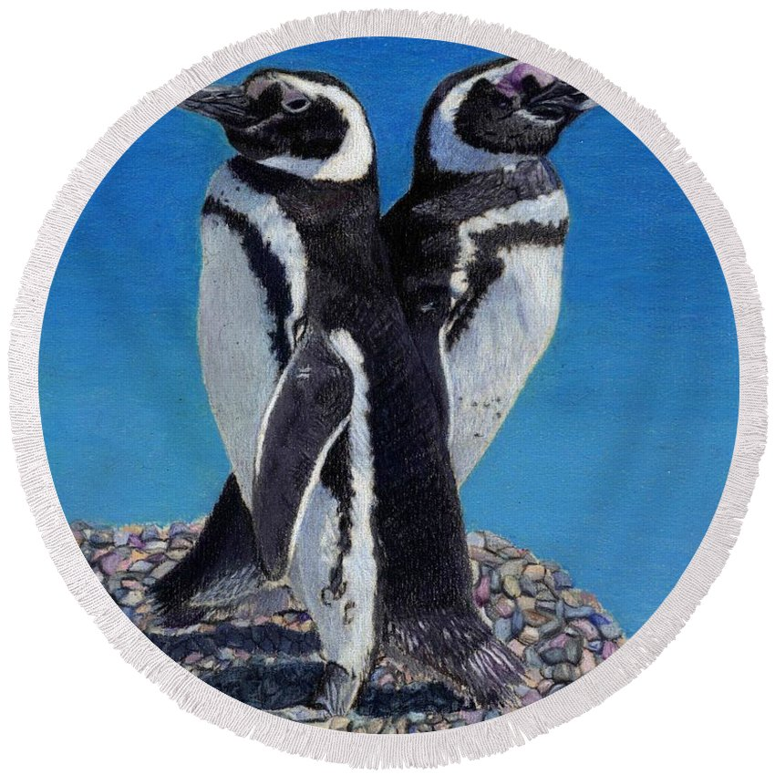 Penguins Round Beach Towel featuring the painting I'm Not Talking To You - Penguins by Patricia Barmatz