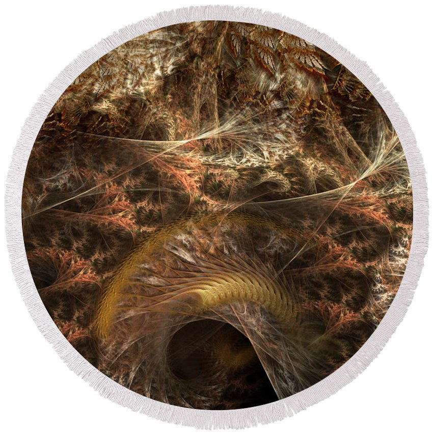 Abstract Round Beach Towel featuring the digital art Image Of The Organism by Casey Kotas