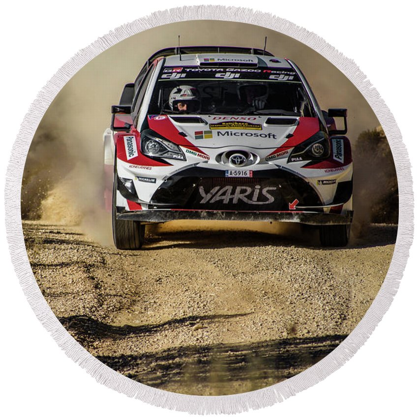 Michelin Round Beach Towel featuring the photograph imagejunky_KB - RallyRACC WRC Spain - Esapekka Lappi / Janne Ferm by Imagejunky Art-Photography