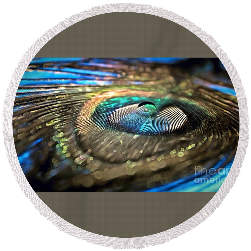 Peacock Feather Round Beach Towel featuring the photograph Imagine If by Krissy Katsimbras