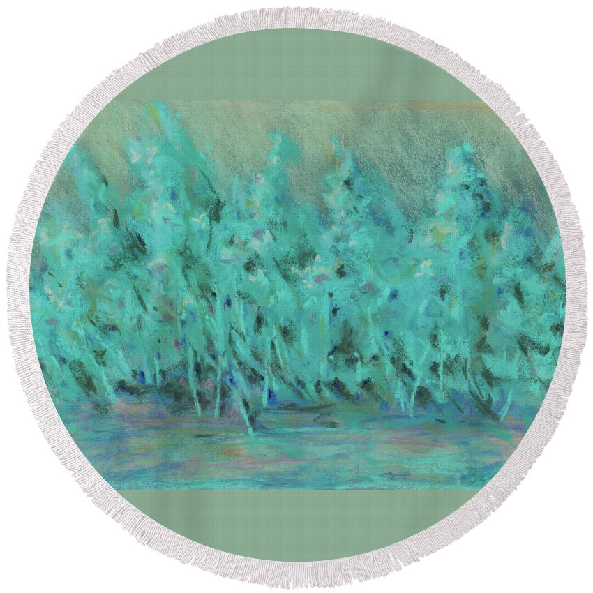 Painting Round Beach Towel featuring the painting Imagine by Lee Beuther