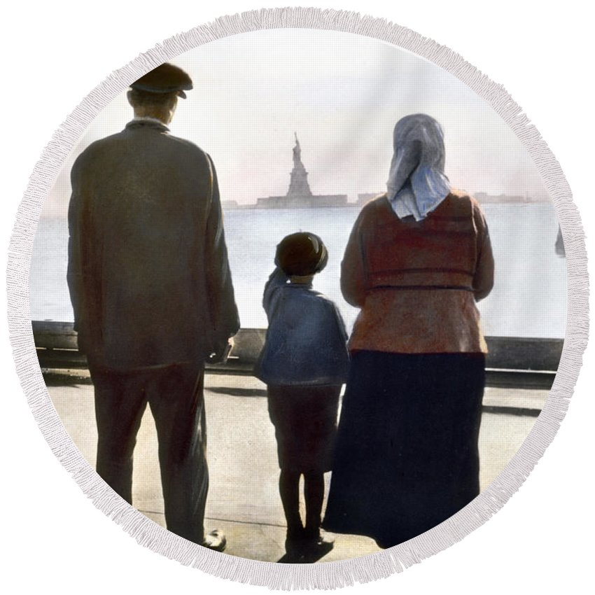 1920 Round Beach Towel featuring the photograph Immigrants: Ellis Island by Granger