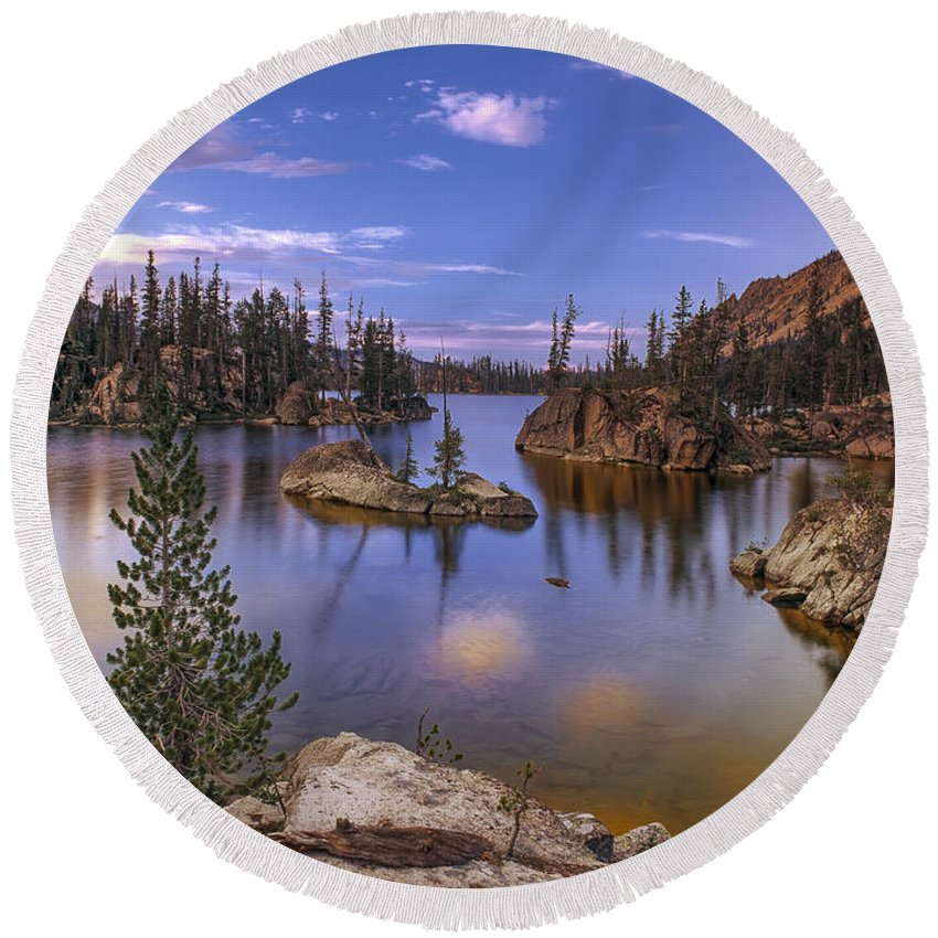 Beautiful Round Beach Towel featuring the photograph Imogene Lake by Leland D Howard